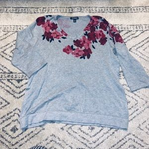 Roz&Ali Grey and Floral Sweater